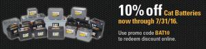10% off all Caterpillar Batteries