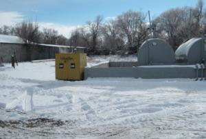 Wheeler CAT drop box in snow