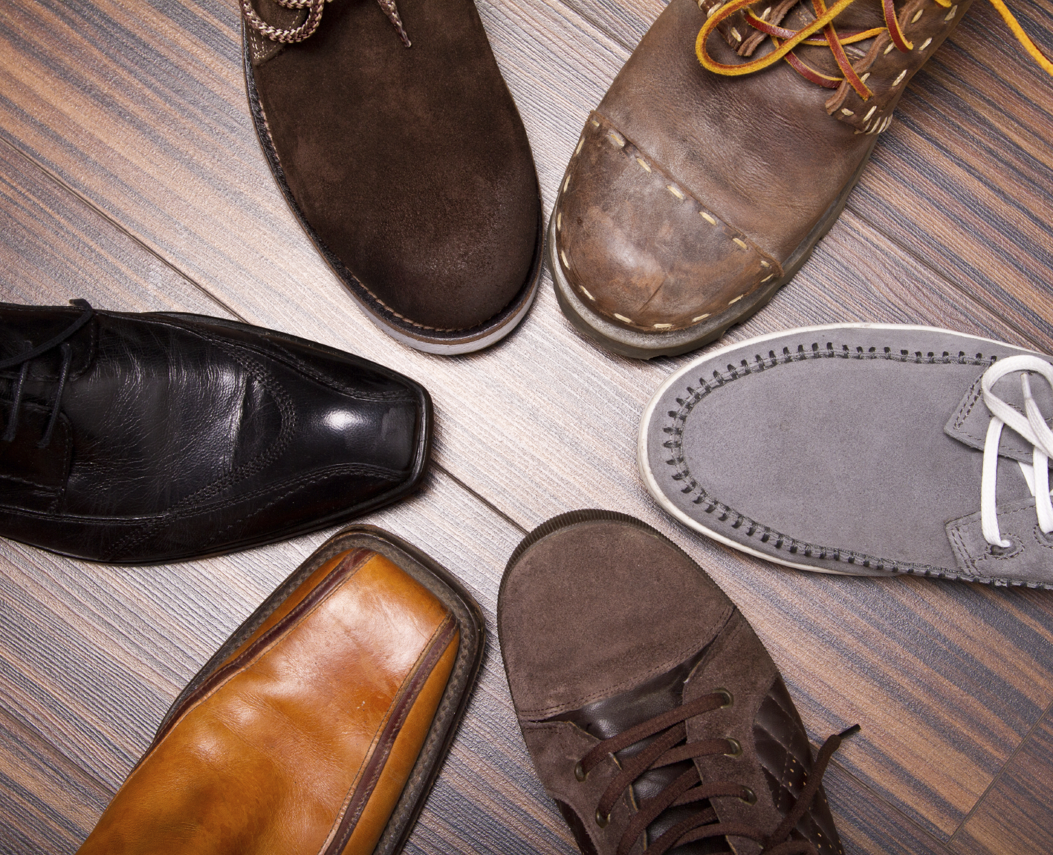 Several designs of men's shoes
