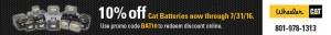 10% off Caterpillar Batteries